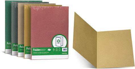 favinicartotecnica Folder ECO Simplex 180,  100% RICICLATO formato T7 (25 x 34cm), 180gr. Una linea di cartelline semplici in cartoncino ecologico riciclato al 100%.